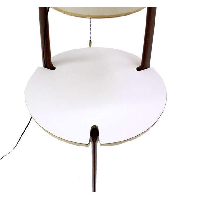 Mid-Century Modern Walnut Floor Lamp with Side Table For Sale - Image 4 of 7