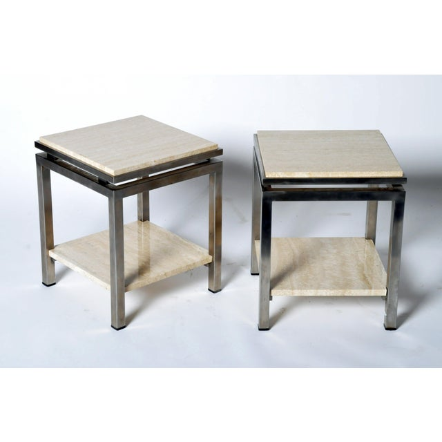 French Pair of Two-Tier Travertine Side Tables in the Style of Guy Lefevre For Maison Jansen For Sale - Image 3 of 11