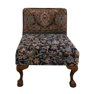1880s Persian Slipper Chair With Claw Feet From Antique Khorassan Rug For Sale