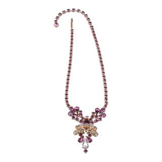Stunning Italian Runway Necklace in Violet and Pink by Justin Joy For Sale