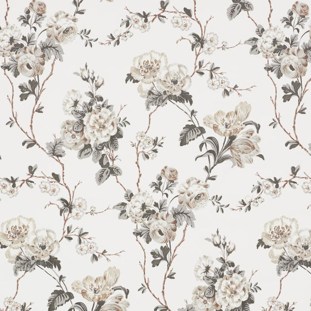 2020s Sample - Schumacher x Veere Grenney Betty Wallpaper in Charcoal For Sale - Image 5 of 5