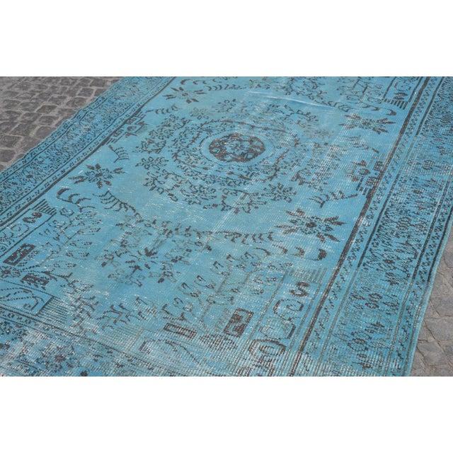 """Turkish Oushak Turquoise Rug - 6' x 8'9"""" - Image 4 of 6"""