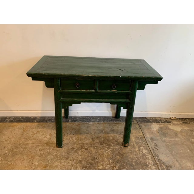 Every room needs a little green! Mid-century Green stained Asian console table; perfect as a small writing desk or that...