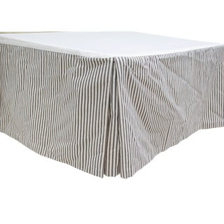 Pair of Custom Made Twin Bedskirts in a Classic Ticking Stripe For Sale