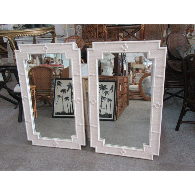 Pair of Palm Beach Faux Bamboo Mirrors.