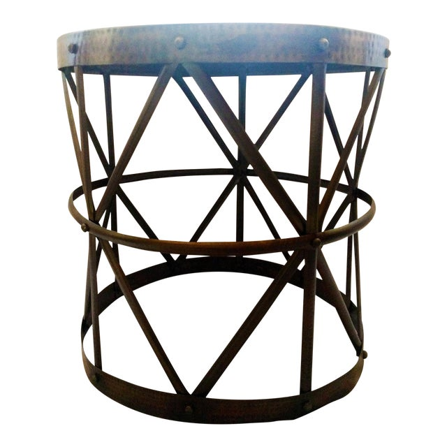 Hammered Bronze Drum Side Table - Image 1 of 4