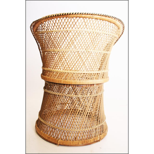 Boho Chic Vintage Boho Chic Wicker Barrel Chair For Sale - Image 3 of 11