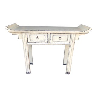Asian Style 2 Drawer Antique White Altar Console Table For Sale