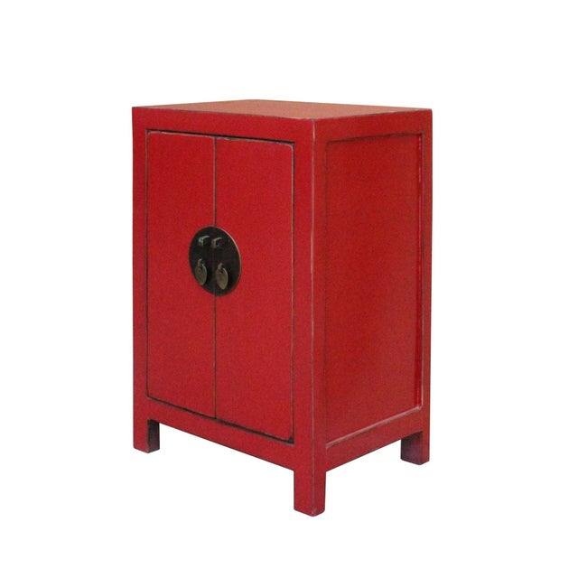 Asian Chinese Red Lacquer Moonface End Table Nightstand For Sale - Image 3 of 8