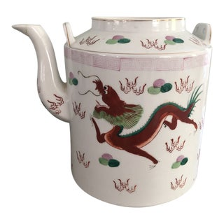 Antique Chinoiserie Hand Painted Dragon Pot For Sale
