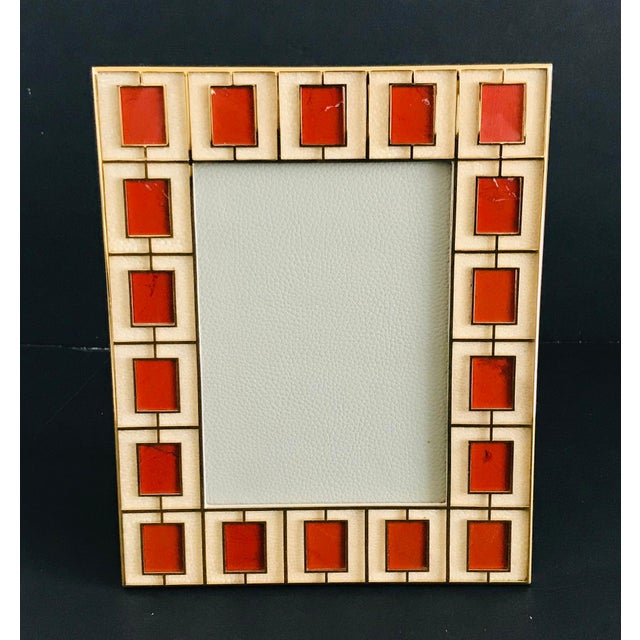Ivory shagreen leather with red jasper stones and gold-plated picture frame by Fabio Ltd Height: 10.5 inches / Width: 8.5...