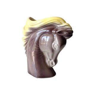 Mid-Century Ceramic Glazed Horse Head Plant Holder