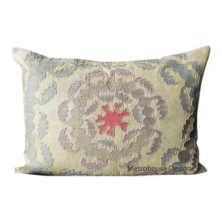 Vintage Silk Embroidered Samarkand Accent Pillow For Sale