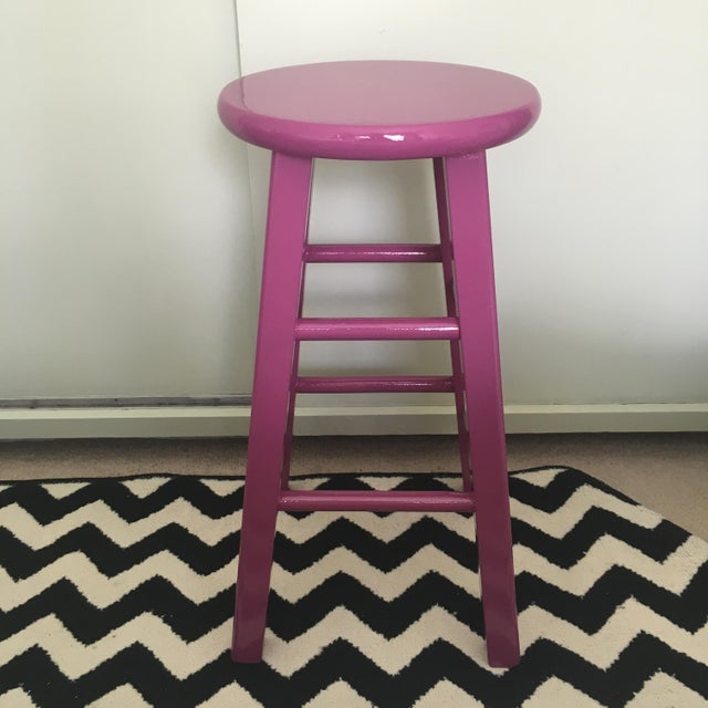 Glossy Mulberry Stools - Pair - Image 4 of 6