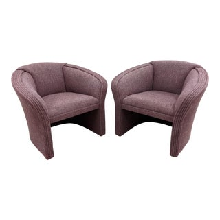 1980s Postmodern Sculptural Barrel Back Club Chairs - a Pair For Sale
