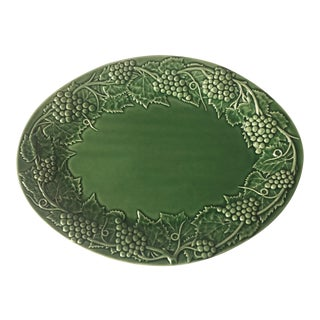 "Bordallo Pinheiro Green Portuguese Majolica 16"" Platter For Sale"