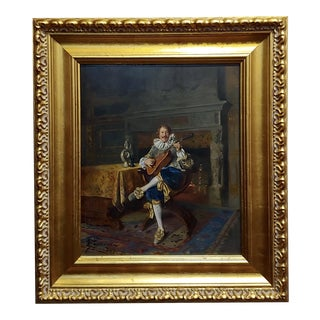 Bernard Louis Borione - the Musician-19th Century French Oil Painting For Sale