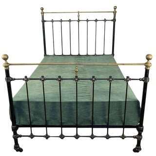 French 1920s Black Iron Bed With Brass Detailing