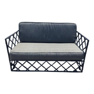 Mid-Century Faux Bamboo Trellis Design Outdoor Settee For Sale