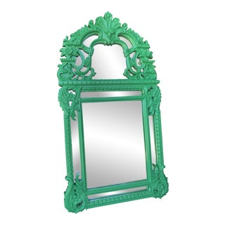 Hollywood Regency Glam Green Rococo Faux Wood Mirror For Sale