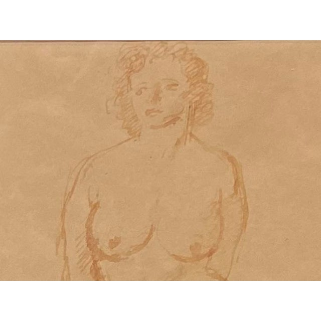 """""""Standing Nude"""" Hand Wash Drawing by Raphael Soyer For Sale - Image 12 of 13"""