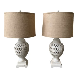 Rustic Transitional Table Lamps - a Pair For Sale