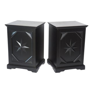 Pair of American Modern Black Lacquer Cabinets For Sale