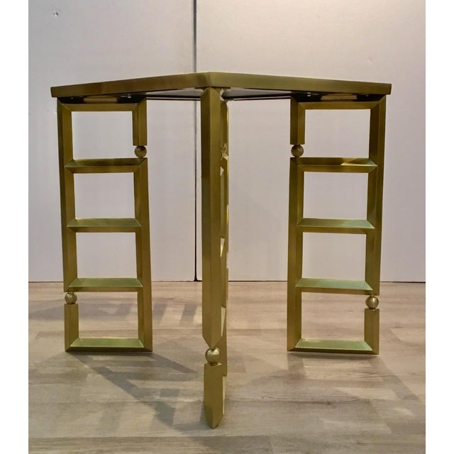Contemporary Global Views Modern White and Brass Beveled Leg Side Tables Pair For Sale - Image 3 of 7