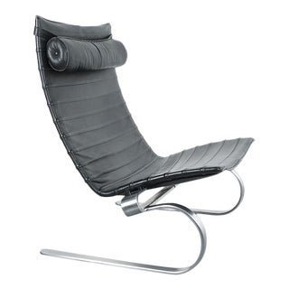 Poul Kjærholm Early Fritz Hansen Pk20 Lounge Chair in Black Leather, 1987 For Sale