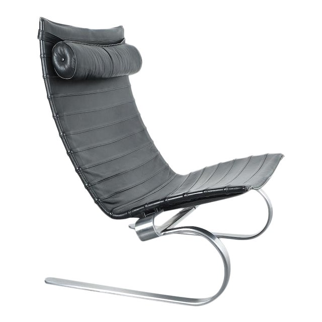 Poul Kjærholm Early Fritz Hansen Pk20 Lounge Chair in Black Leather, 1987 For Sale