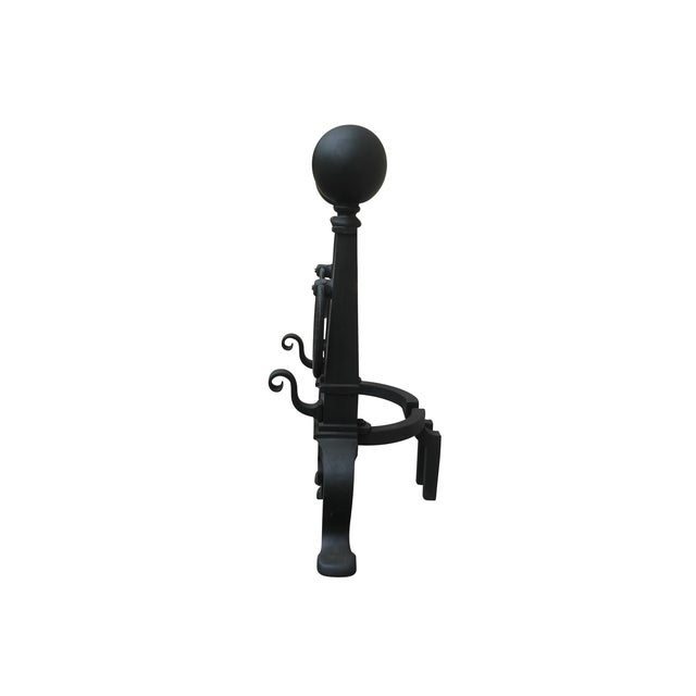 Eastlake Style Cannon Ball Top Andirons - A Pair - Image 4 of 7
