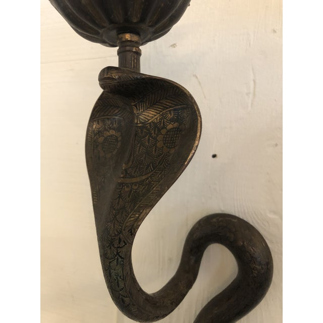 Enameled Brass Revival Cobra Candle Sconces -A Pair For Sale In Philadelphia - Image 6 of 13