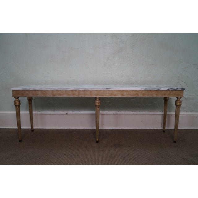 Vintage Silver Gilt Marble Top Console Table - Image 3 of 10