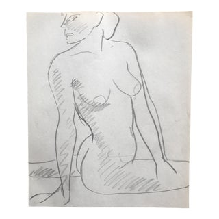 1970s James Bone Twisting Female Nude Drawing For Sale
