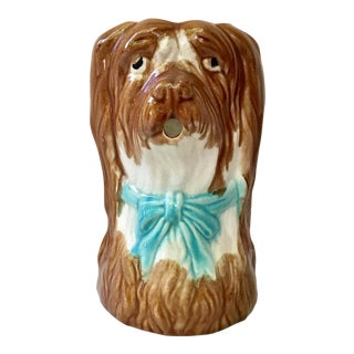 1900s French Majolica Dog Pitcher For Sale