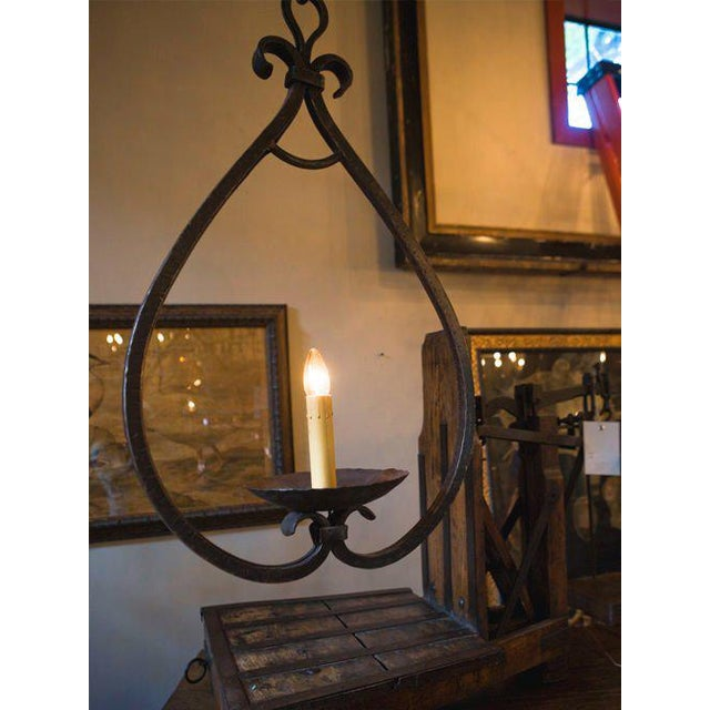 """Black Custom """"Mahoning"""" Hand-Forged, Large Wrought-Iron Pendant For Sale - Image 8 of 11"""