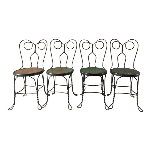 Vintage Bistro Ice Cream Parlor Chairs - Set of 4 For Sale