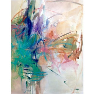 "Cooper Acrylic Painting ""Tropical Breeze"", Contemporary Large Pink and Green Abstract For Sale"
