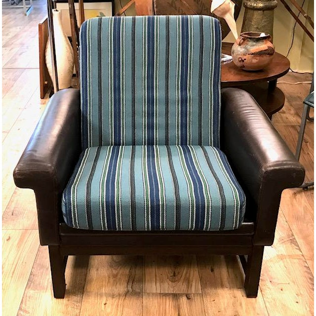 Mid Century Leather Chair With Striped Canvas For Sale - Image 4 of 9