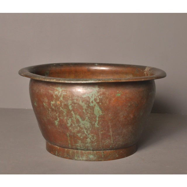Green Hammered Copper Pot, American- 1920s For Sale - Image 8 of 8