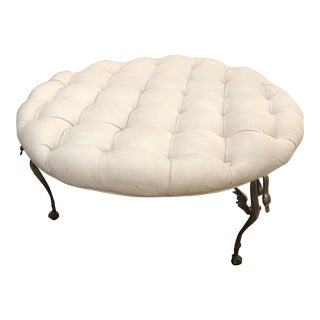 Round Tuffed Ottoman With 3 Brass Swan Legs For Sale