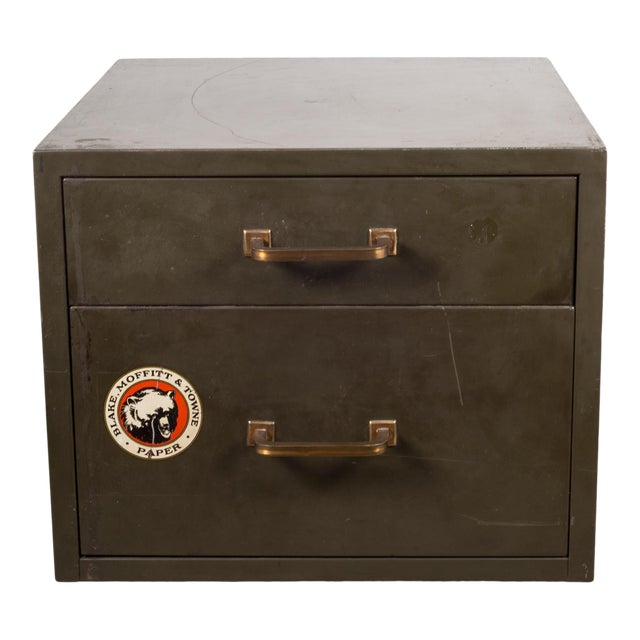 Industrial Factory Two Drawer Cabinet With Brass Pulls C.1940 For Sale