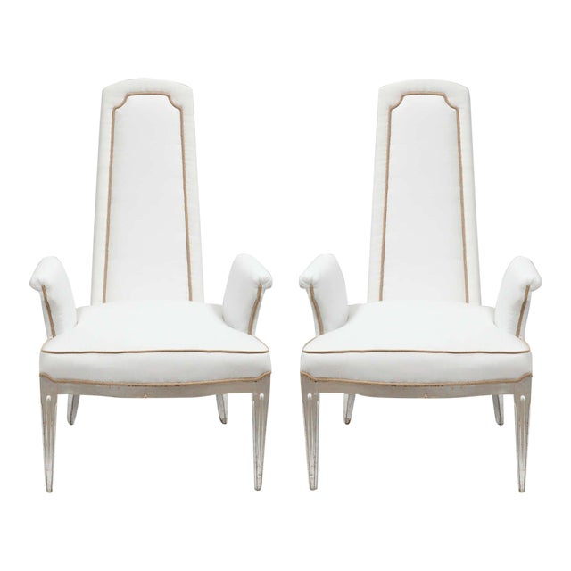 Pair of High Back Armchairs For Sale