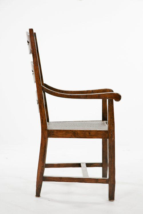 English Traditional English Ladderback Arm Chairs With Caning   A Pair For  Sale   Image 3
