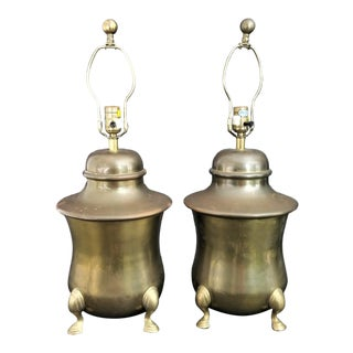 1983 Chapman Vintage Brass Hoof Footed Urn Table Lamps-Set of 2 For Sale