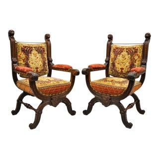 Early 20th Century Antique Italian Renaissance Savonarola Throne Arm Chairs- A Pair For Sale