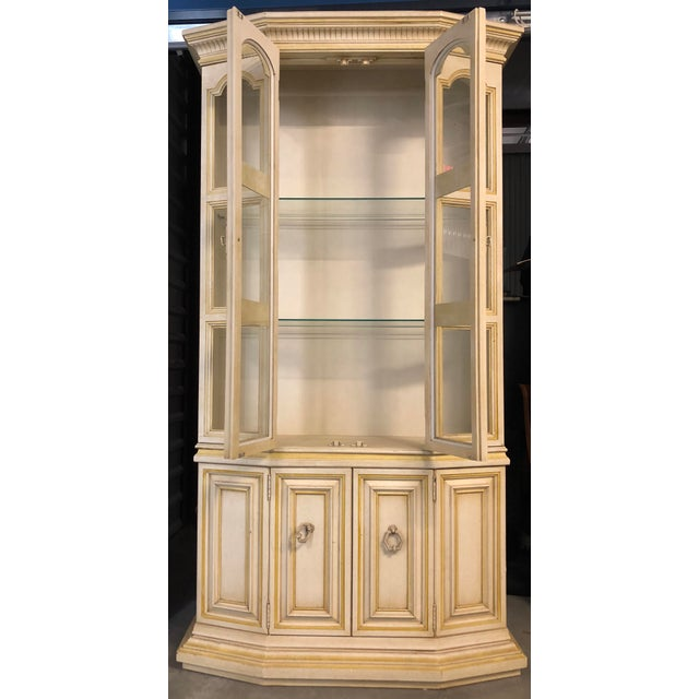 Baker Breakfront French Country Glass Shelves, Lighting and Two Storage Cabinet - 2 Pc. For Sale - Image 10 of 12