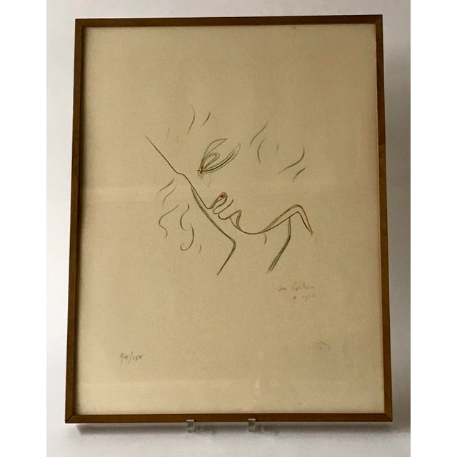 By French Artist Jean Cocteau. Signed Lithograph 1955. Printers Watermark.