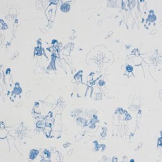 Schumacher x Peg Norris: Jackie Gendel Toile De Femmes Wallpaper in Indigo