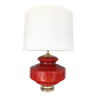 Vintage Lipstick Red Glass Table Lamp